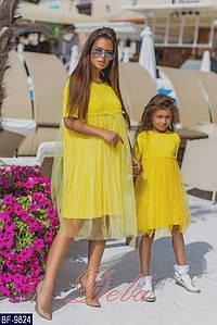 Платье детское с фатином. Размер 110-116, 122-128, 134-140. Цвет черный,желтый,красный