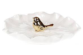 Декоративная тарелочка для украшений с золотой Птичкой 19см (727-238)