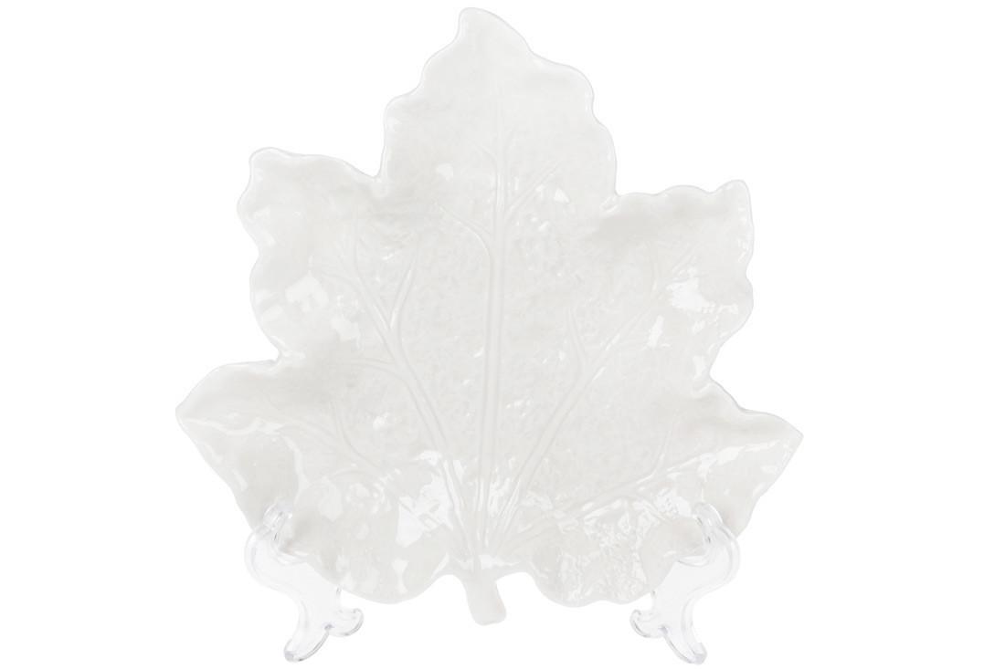Тарілочка декоративна Кленовий Лист 20см, колір - білий (727-221)
