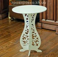 Круглый кофейный резной столик Д45В60 №5