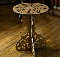 Деревянный столик с резьбой из фанеры круглый Д45В60 №1