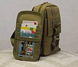 Сумочка - барсетка для карточек и телефона скрытого ношения (плечевая) (9119-coyote), фото 10