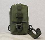 Сумочка - барсетка для карток і телефону прихованого носіння (плечова) (9119-olive), фото 2