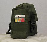 Сумочка - барсетка для карток і телефону прихованого носіння (плечова) (9119-olive), фото 5