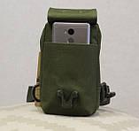 Сумочка - барсетка для карток і телефону прихованого носіння (плечова) (9119-olive), фото 8