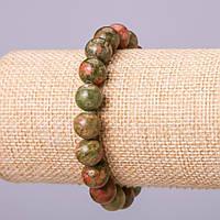 Браслет из натурального камня Гелиотроп шарик d-8мм обхват 18см на резинке