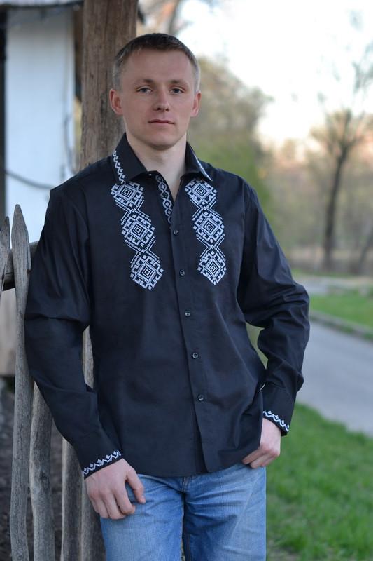 Мужская черная вышиванка МК03-121, фото 1