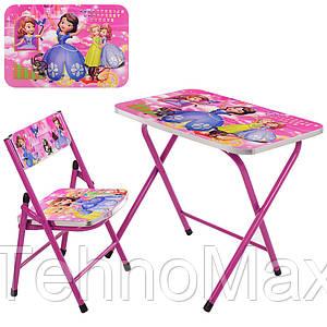 Столик A-19-SFP складной, столешница 60-40 см, 1 стульчик