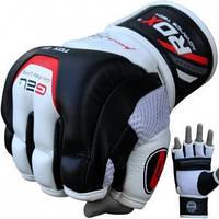 Перчатки снарядные кожаные с открытыми пальцами RDX, битки для бокса и единоборств