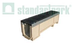 Комплект: Полимербетонный лоток серии Maxi DN160 с чугунной решеткой кл. E