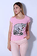 Футболка женская Енот розовая LAD 8250, фото 1