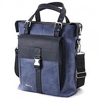Мужская вертикальная сумка популярного синего цвета Tom Stone арт. 516BL