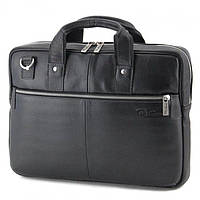 Черная кожаная сумка для ноутбука Tom Stone арт. 704B