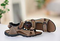 Мужские коричневые сандалии на липучках натуральная кожа