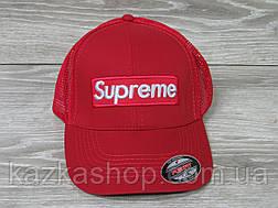 Стильная мужская кепка, бейсболка, вышивка логотипа в стиле Supreme (реплика), сетка, размер 56-58, на резинке, фото 3