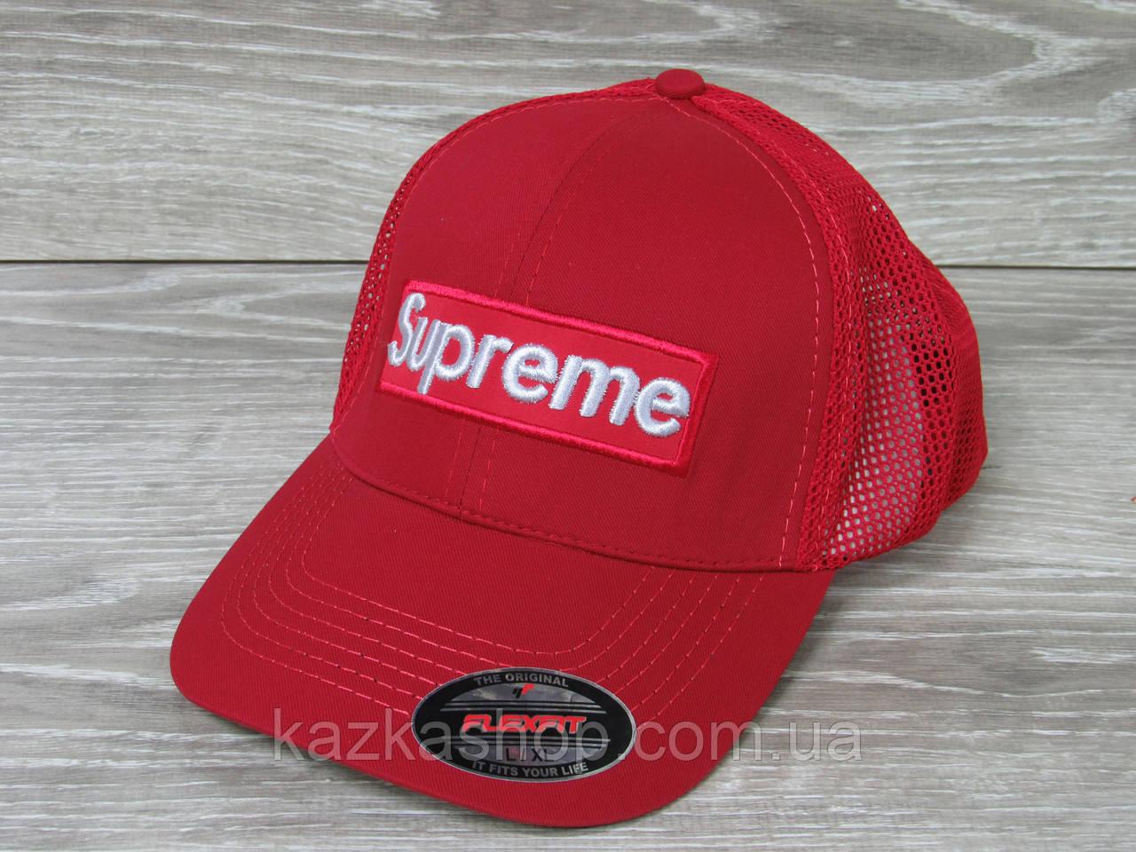 Стильная мужская кепка, бейсболка, вышивка логотипа в стиле Supreme (реплика), сетка, размер 56-58, на резинке