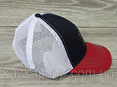 Стильная мужская кепка, бейсболка, вышивка логотипа, сетка, размер 56-58, на резинке, фото 3