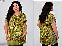 Туника женская с принтом, горчичный с 50-64 размер, фото 1