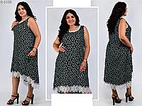 Платье А-силуэта с кружевной отделкой по низу, с 54-66 размер, фото 1