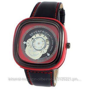 Часы Sevenfriday Leather Red-Black