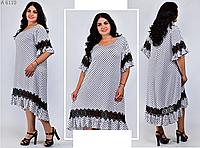 Красивое платье А-силуэта с кружевной отделкой, с 54-66 размер, фото 1