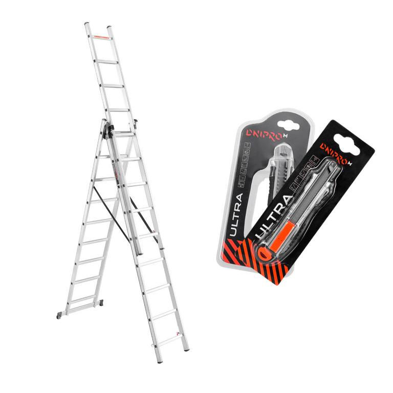 Лестница алюминиева универсальная Dnipro-M CL-309 652 см + 2 ножа