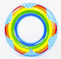 Круг надувной детский для плавания D25546 80 см Радуга