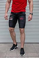 """Мужские джинсовые шорты """" Red """" черного цвета"""