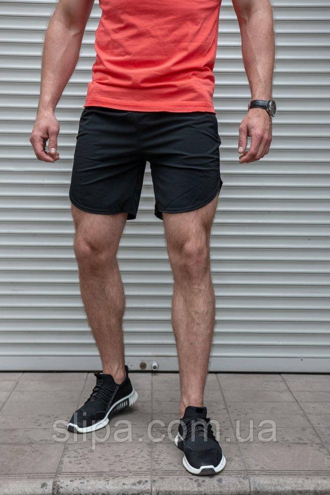 Чоловічі чорні шорти з плащової тканини бігові