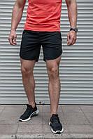 Чоловічі чорні шорти з плащової тканини бігові, фото 1