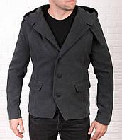 Мужское молодежное пальто-тренч из кашемира серого цвета, фото 1