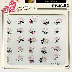 Самоклеющиеся Наклейки для Ногтей 3D Nail Sticrer FP-К-02 Цветы с Камушками
