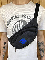 Поясная сумка серая в стиле Puma 2 отделения (Бананка), из мессенджер pvc, банан, трендовая сумка