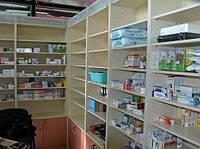 Витрины, прилавки, стеллажи, стойки  аптечные