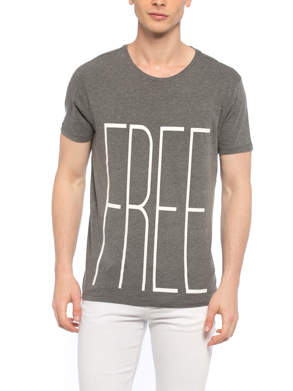 Сіра чоловіча футболка Lc Waikiki / Лз Вайкікі з написом FREE