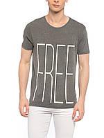 Сіра чоловіча футболка Lc Waikiki / Лз Вайкікі з написом FREE, фото 1