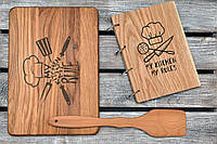 Набор для кухни. Деревянный блокнот, разделочная доска и лопатка. (A00102)