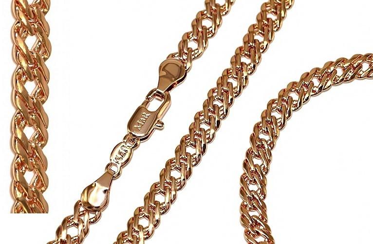 Набор фирмы TSATSA:цепочка 57 см.ширина 5 мм. и браслет 20 см.ширина 5мм. Позолота с кр. оттенком.Двойной ромб
