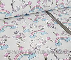 Единороги с пломбиром (на белом), детское постельное белье из сатина