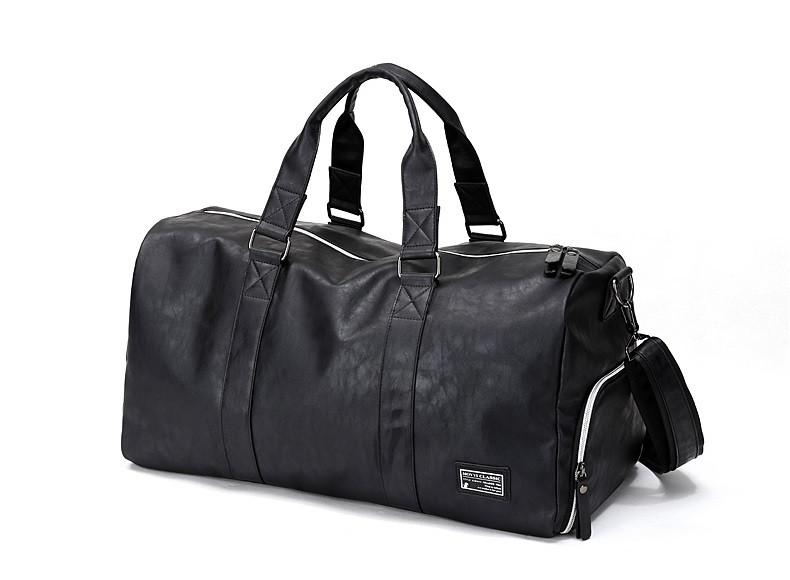 Мужская сумка с отделом для обуви из PU кожи, черный цвет ( код: IBM025B )