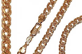 Набор фирмы TSATSA:цепочка 57 см.ширина 6 мм. и браслет 20 см.ширина 6мм. Позолота с кр. оттенком.Двойной ромб