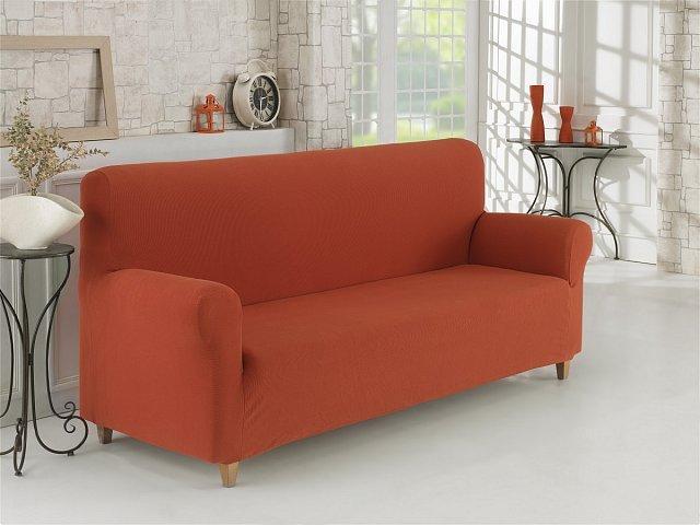 Чохол для дивана теракотовий з фактурним візерунком