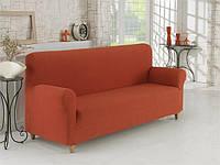 Чохол для дивана теракотовий з фактурним візерунком, фото 1