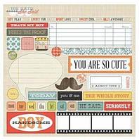 Чипборды Teresa Collins - He Said - Die Cut Chipboard Stickers, 20x20, HSS128