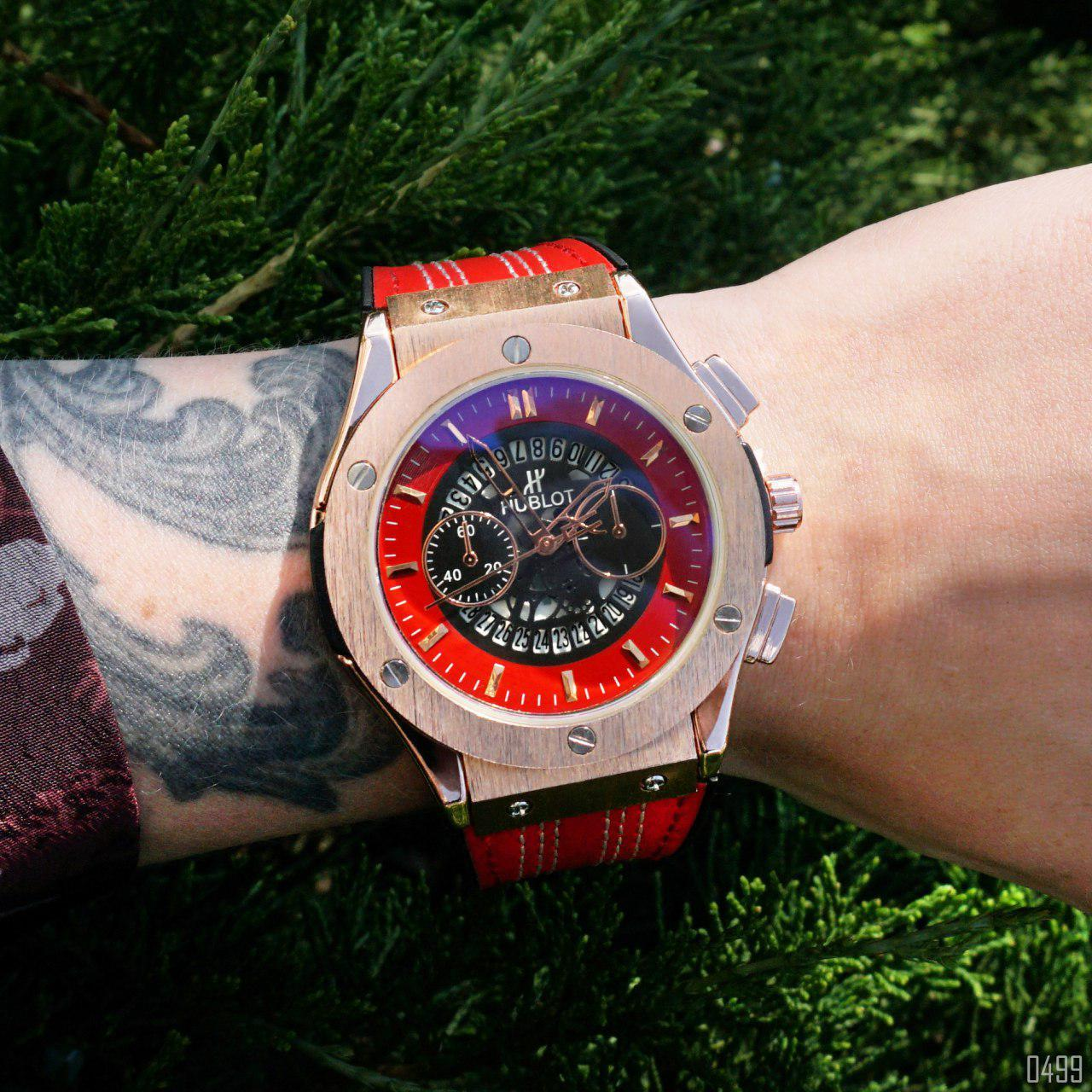 Часы в стиле  Hublot 6101 Red-Gold-Red