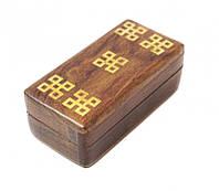 9160029 Шкатулка из красного дерева с инкрустацией 10*5*3,5см.