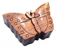 9160182 Шкатулка с секретом из красного дерева 'Бабочка'