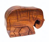 9160184 Шкатулка с секретом из красного дерева 'Слон'