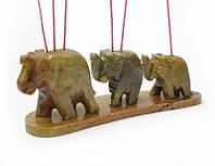 9150020 Подставка под аромапалочки каменная '3 слона в линию'