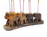 9150018 Подставка под аромапалочки каменная '4 слона в линию'